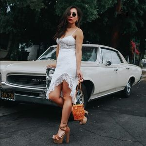 NWT Petite White Lace Bodycon Midi Dress